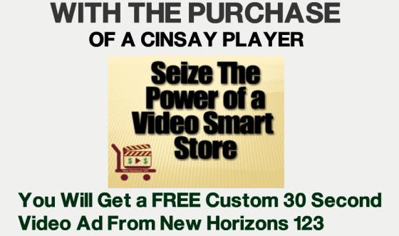 free video ad offer with purchase of a cinsay